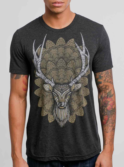 Buck Head - Multicolor on Heather Black Triblend Mens T Shirt