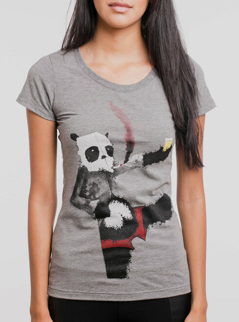 Drunk Panda - Multicolor on Heather Grey Triblend Womens T-Shirt