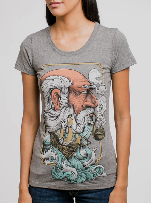 Old Man & the Sea - Multicolor on Heather Grey Triblend Womens T-Shirt