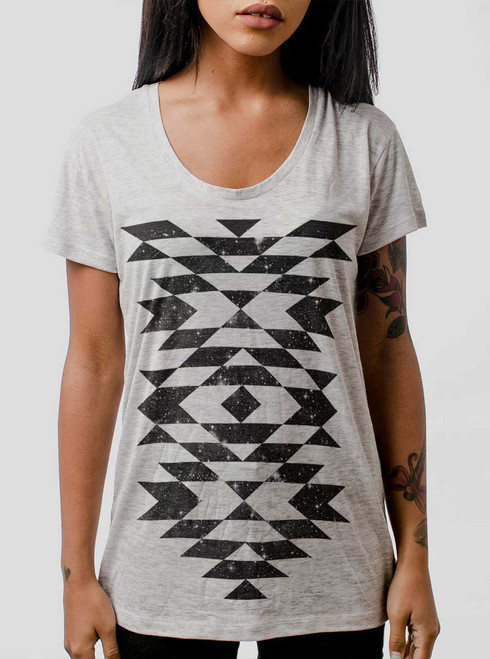 Space Native - Black on Heather Oatmeal Womens Relaxed Fit T Shirt