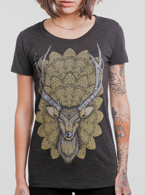 Buck Head - Multicolor on Heather Black Triblend Womens T-Shirt
