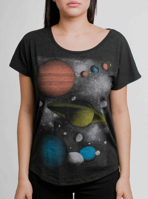 Solar - Multicolor on Heather Black Triblend Womens Dolman T-Shirt