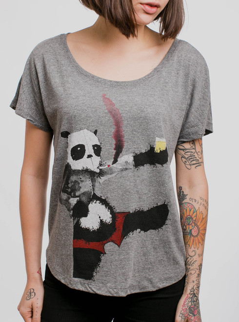 Drunk Panda - Multicolor on Heather Grey Triblend Womens Dolman T Shirt