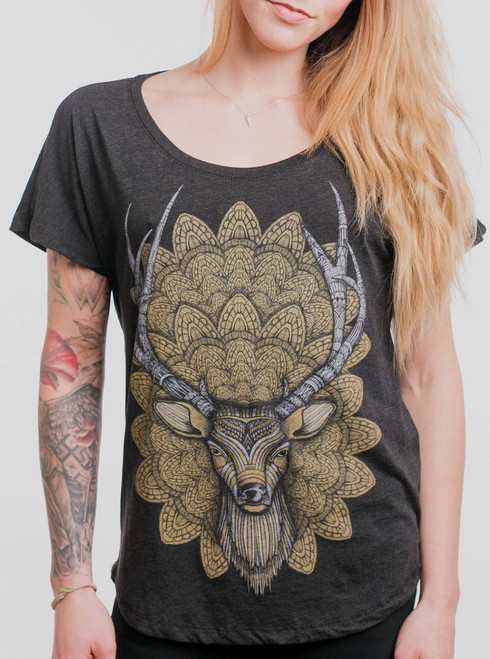 Buck Head - Multicolor on Heather Black Triblend Womens Dolman T Shirt