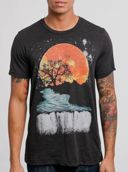 Sunset Waterfall - Multicolor on Heather Black Triblend Mens T Shirt