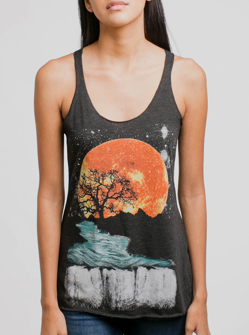 Sunset Waterfall - Multicolor on Heather Black Triblend Women's Racerback Tank Top