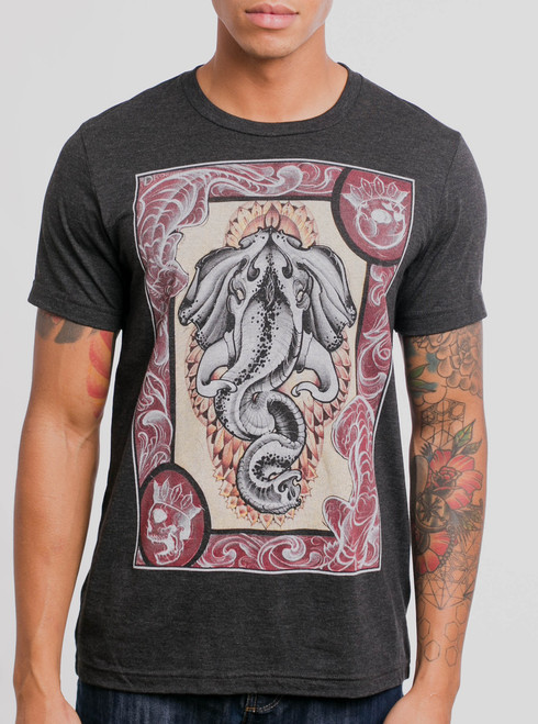 Raja Gaj - Multicolor on Heather Black Triblend Mens T Shirt