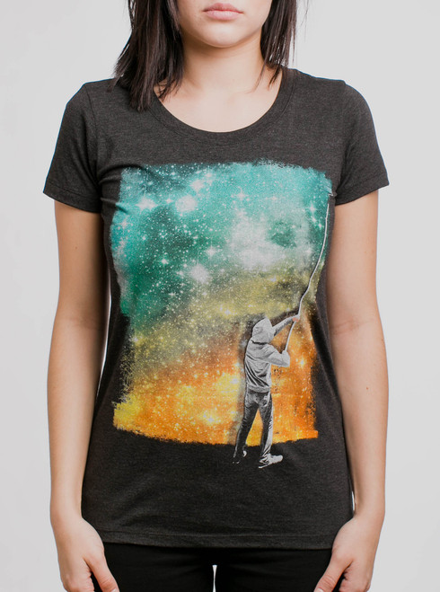 Paint the Sky - Multicolor on Heather Black Triblend Womens T-Shirt