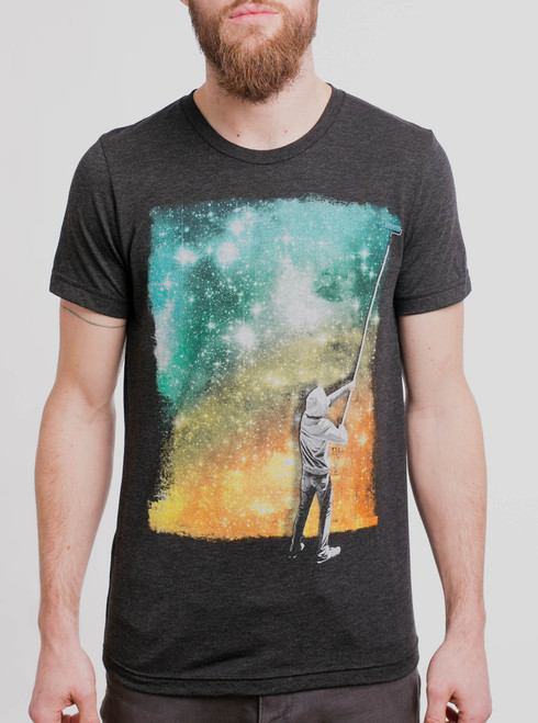 Paint the Sky - Multicolor on Heather Black Triblend Mens T Shirt