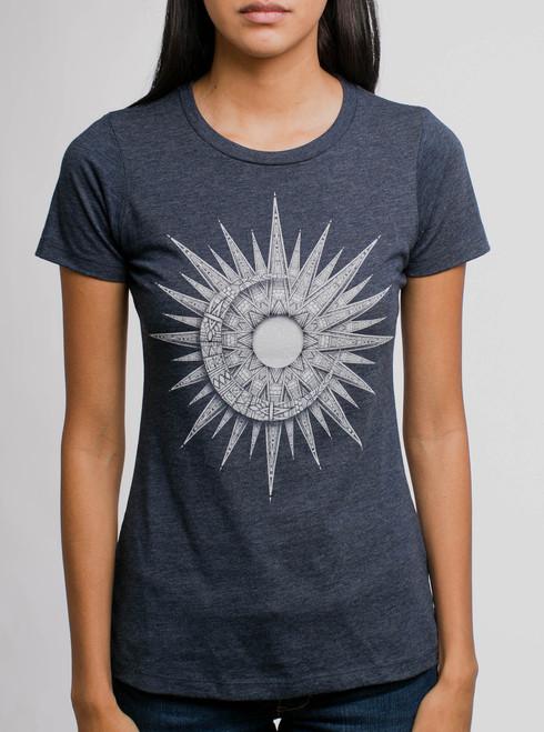 Sun & Moon - White on Heather Navy Womens T-Shirt