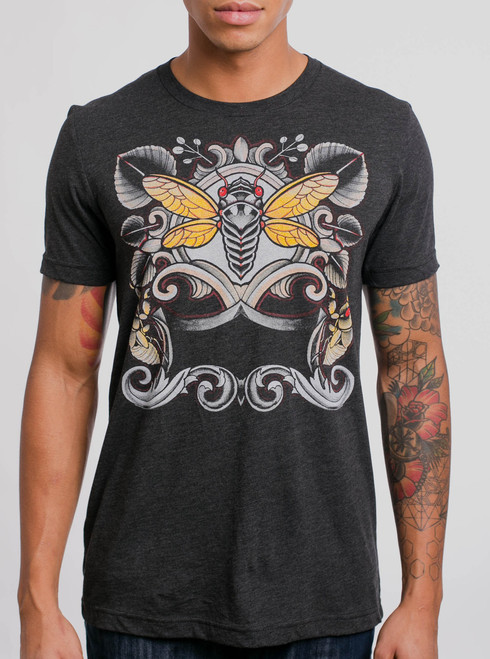 Cicada - Multicolor on Heather Black Triblend Mens T Shirt