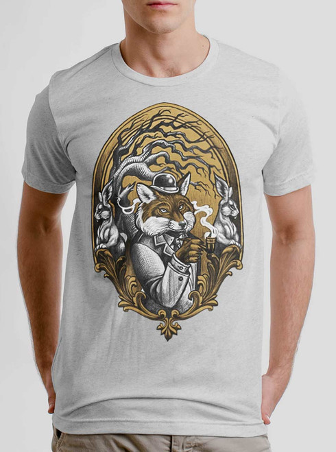 Sir Fox - Multicolor on Heather White Triblend Mens T Shirt