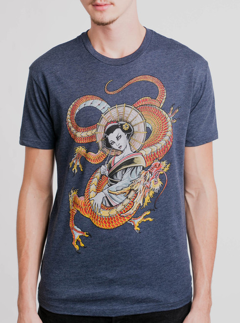 Dragon Lady - Multicolor on Heather Navy Mens T Shirt