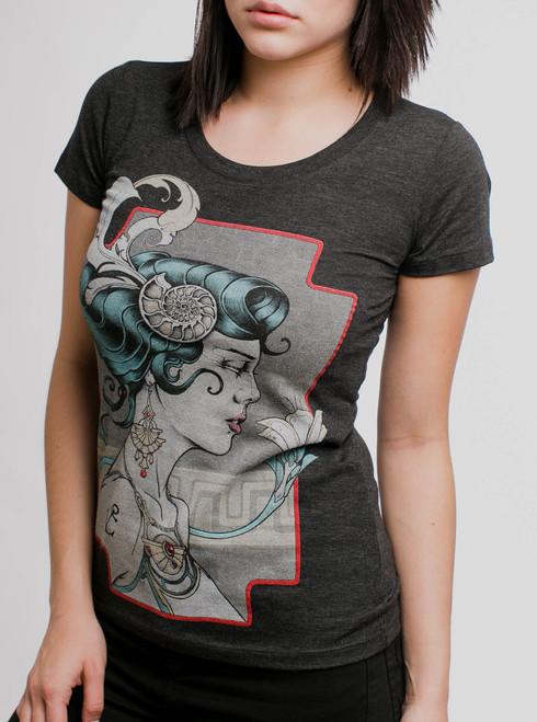 Venus - Multicolor on Heather Black Triblend Junior Womens T-Shirt