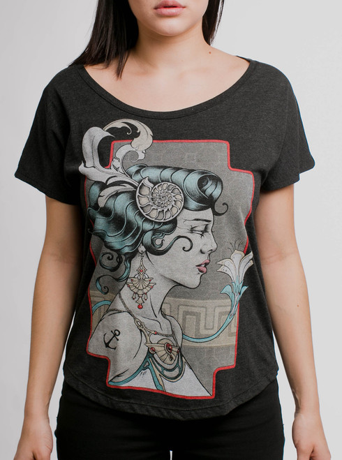 Venus - Multicolor on Heather Black Triblend Womens Dolman T Shirt