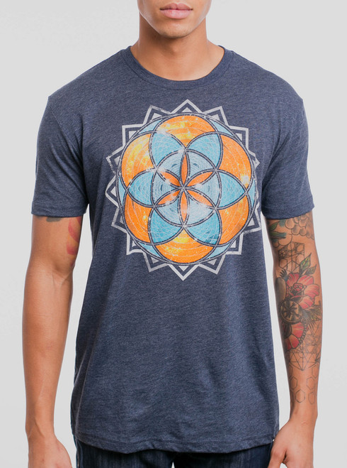 Life - Multicolor on Heather Navy Mens T Shirt