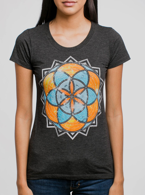 Life - Multicolor on Heather Black Triblend Womens T-Shirt