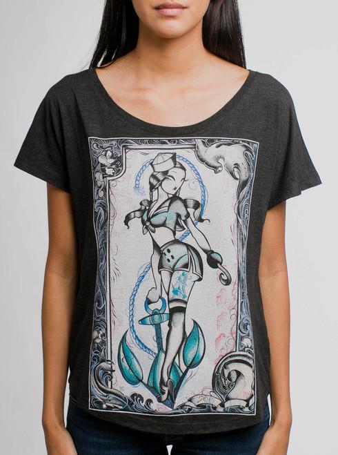 Sailor Julie - Multicolor on Black Triblend Womens Dolman T Shirt