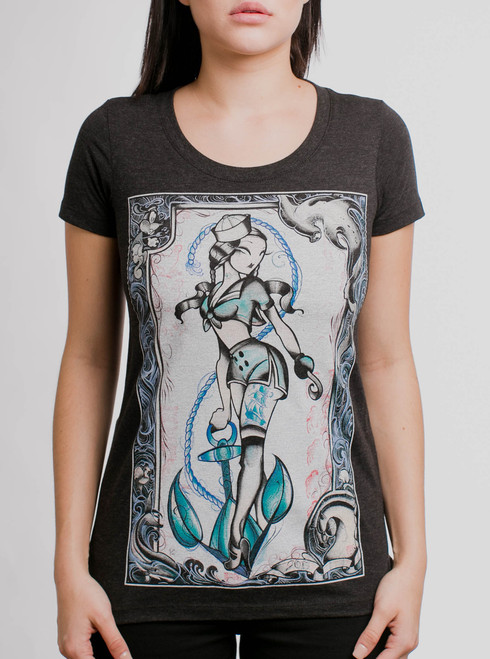 Sailor Julie - Multicolor on Heather Black Triblend Womens T-Shirt