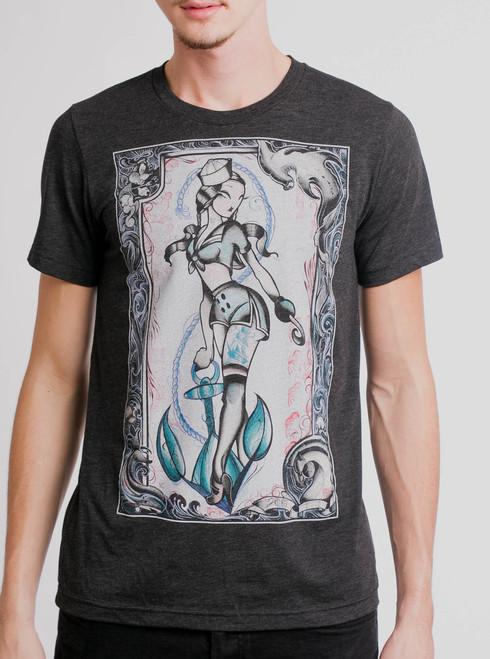 Sailor Julie - Multicolor on Heather Black Triblend Mens T Shirt