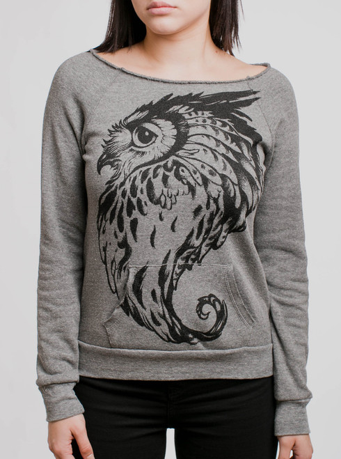 Great Horned Owl - Black on Grey Triblend Women's Maniac Sweatshirt