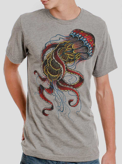 Jelly - Multicolor on Heather Grey Triblend Mens T-Shirt