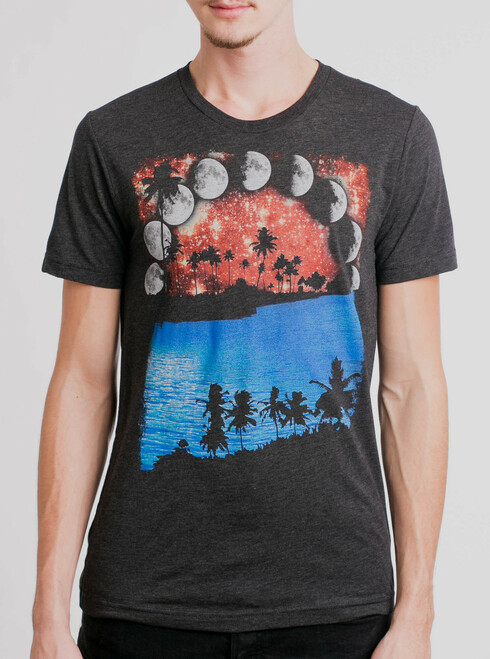 Moon Tropic - Multicolor on Heather Black Triblend Mens T Shirt