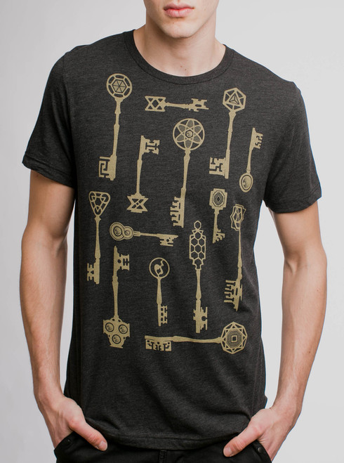 Keys - Gold on Heather Black Triblend Mens T Shirt
