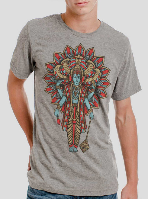 Vishnu - Multicolor on Heather Grey Triblend Mens T Shirt