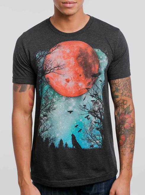 Blood Moon - Multicolor on Heather Black Triblend Mens T Shirt