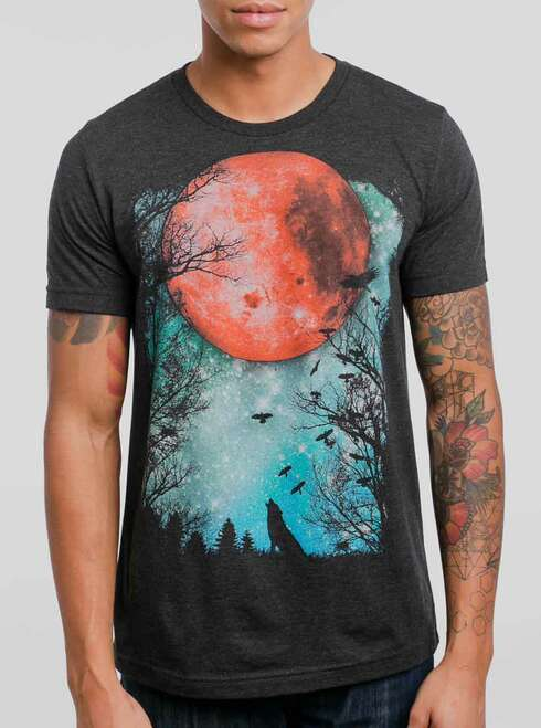 Blood Moon - Multicolor on Heather Black Triblend Mens T Shirt