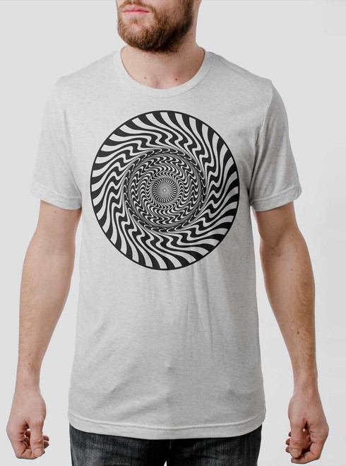 Psych Circle - Black on Heather White Triblend Mens T Shirt
