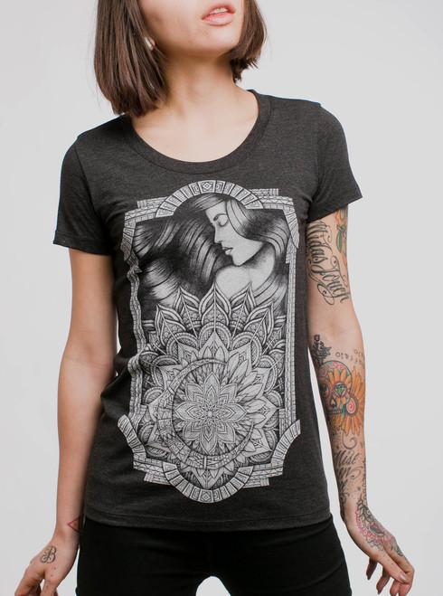 Lady & Lotus - White on Heather Black Triblend Junior Womens T-Shirt