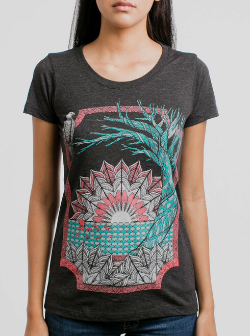 Octo & Eagle - Multicolor on Heather Black Triblend Junior Womens T-Shirt
