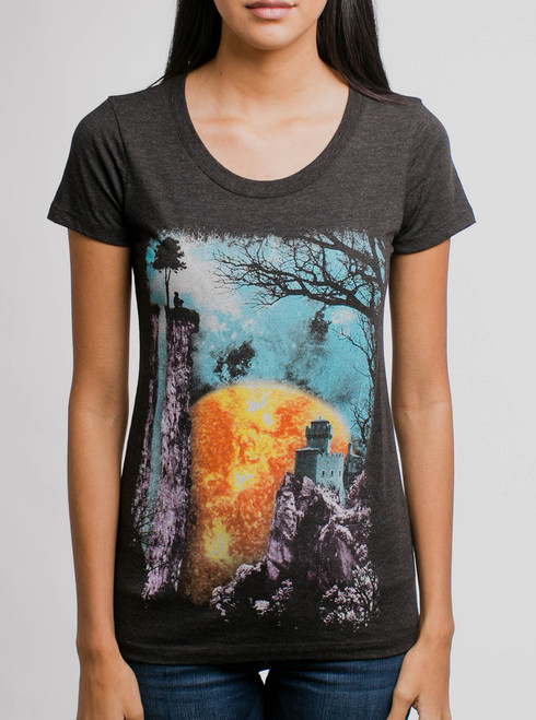 The End - Multicolor on Heather Black Triblend Junior Womens T-Shirt