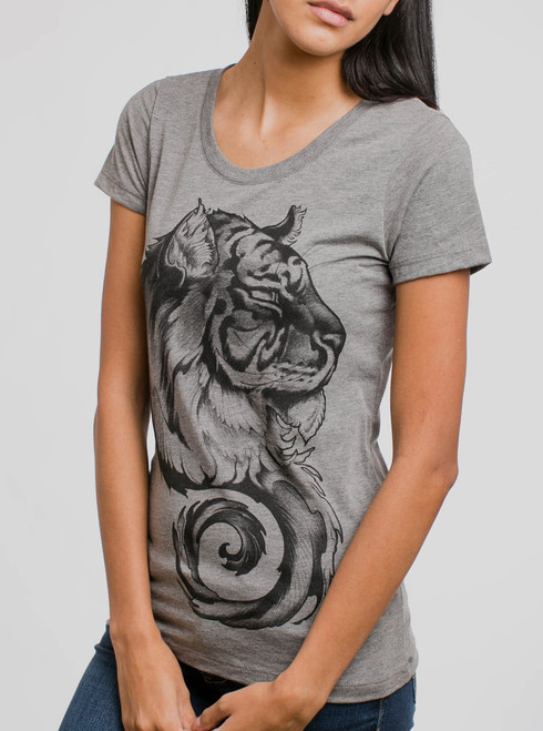 Siberian Tiger - Black on Heather Grey Triblend Womens T-Shirt