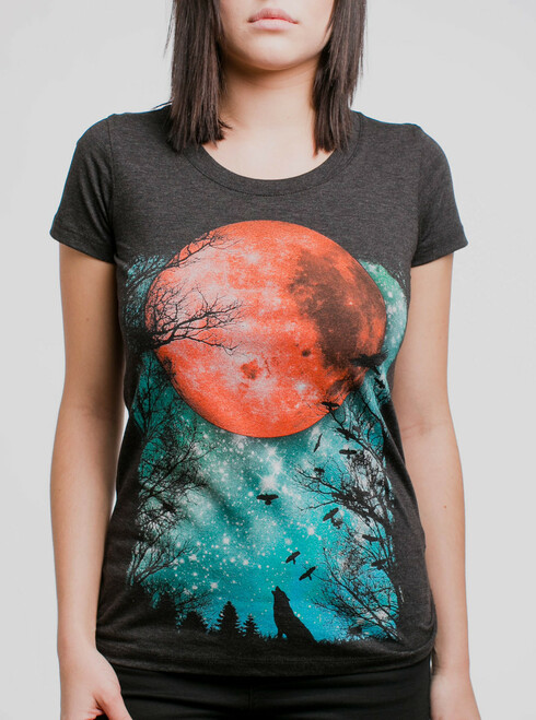 Blood Moon - Multicolor on Heather Black Triblend Womens T-Shirt