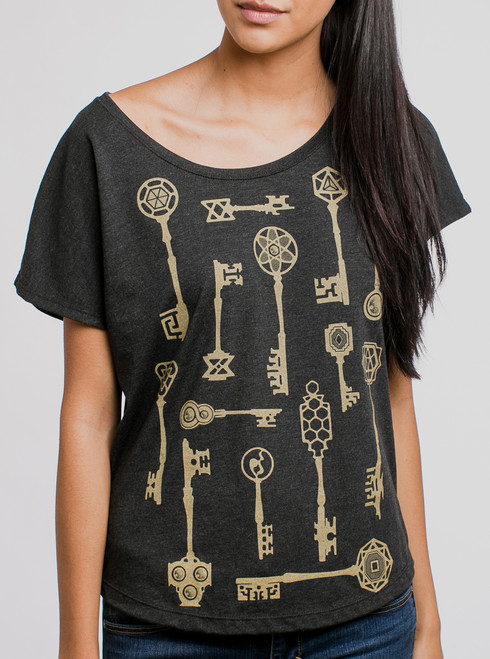 Keys - Gold on Black Triblend Womens Dolman T Shirt