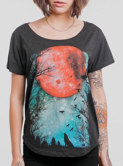Blood Moon - Multicolor on Heather Black Triblend Womens Dolman T Shirt