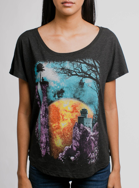 The End - Multicolor on Black Triblend Womens Dolman T Shirt