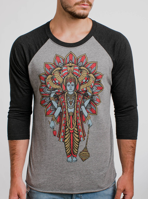 Vishnu - Multicolor on Heather Grey and Black Triblend Raglan