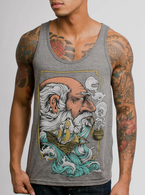486c0fcaac222 Old Man   the Sea - Multicolor on Heather Grey Triblend Mens Tank Top