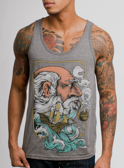 Old Man & the Sea - Multicolor on Heather Grey Triblend Mens Tank Top