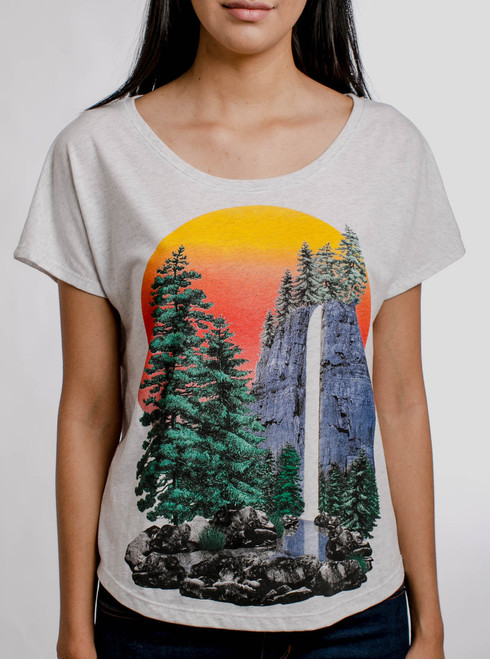 The Forest - Multicolor on Heather White Triblend Womens Dolman T Shirt