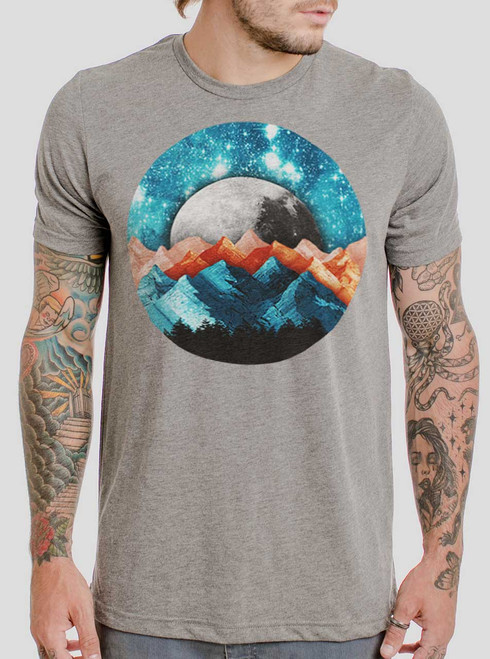 The Mountains - Multicolor on Heather Grey Triblend Mens T Shirt