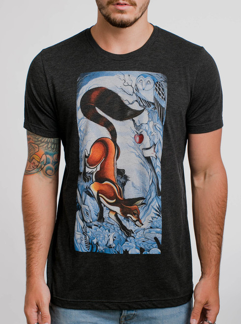 Wicked Rabbit - Multicolor on Heather Black Triblend Mens T Shirt