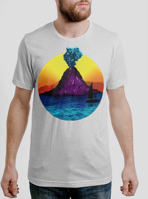 Volcano - White on Heather White Triblend Mens T Shirt