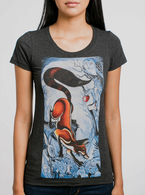 Wicked Rabbit - Multicolor on Heather Black Triblend Womens T-Shirt