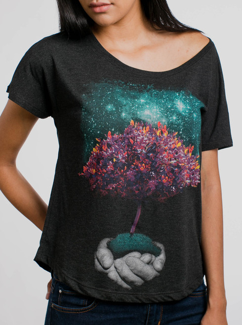 Creation - Multicolor on Heather Black Triblend Womens Dolman T Shirt