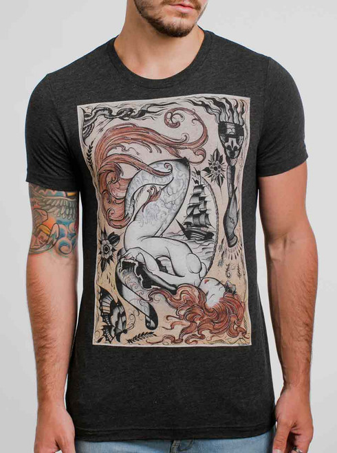 Siren - Multicolor on Heather Black Triblend Mens T Shirt